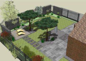Gartengestaltung mit Gabionen 3D-Plan