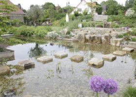 Trittsteine führen über glaskares Wasser