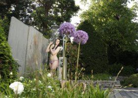 Akzentuierte Bepflanzung und Gartengestaltung setzt den Schwimmteich optimal in Szene