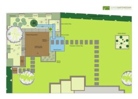 Gartenplan Sitzplatz mit Wasserlauf