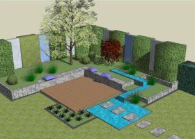 3D-Plan Sitzplatz mit Wasserlauf
