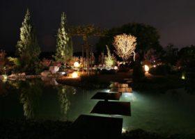 Andere Gartenansichten am Abend durch intelligente Beleuchtung