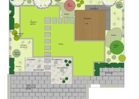 CAD-Plan, Gartengestaltung mit Spiegelwand