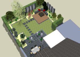 3D-Plan, Gartengestaltung mit Spiegelwand