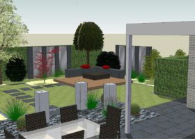3D-Ansicht, Gartengestaltung mit Spiegelwand