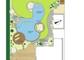 CAD-Plan: Gestaltung mit Teich in organischer Form