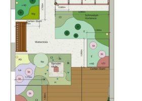 CAD-Plan von einem Reihenhausgarten in Warendorf