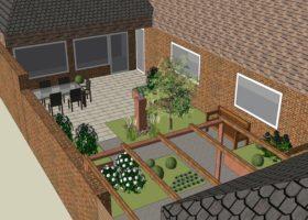 3D-Plan von einem kleinen Garten in Warendorf