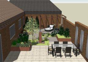 3D-Plan von einem Reihenhausgarten in Warendorf