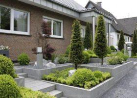 moderne Vorgartengestaltung mit Hochbeeten in Ennigerlloh