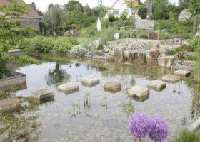 Natursteinwürfel als Trittsteine über die Wasserfläche